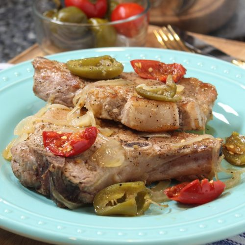 Pork Chops with Hot Cherry Peppers Recipe