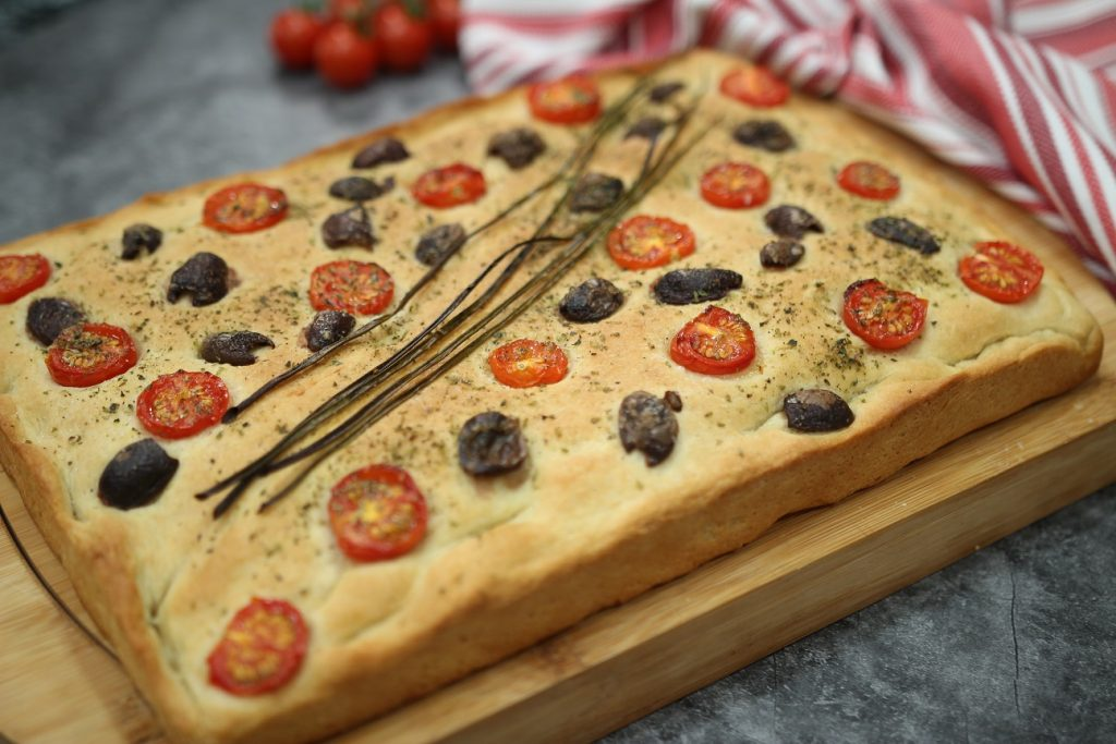 Homemade Focaccia with Tomatoes and Olives