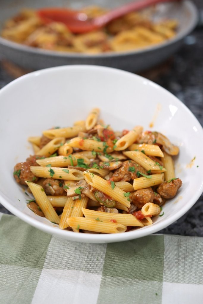Pasta with Mushrooms and Spicy Sausage