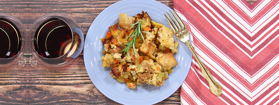Thanksgiving Stuffing with Roasted Chestnuts and Spicy Sausage