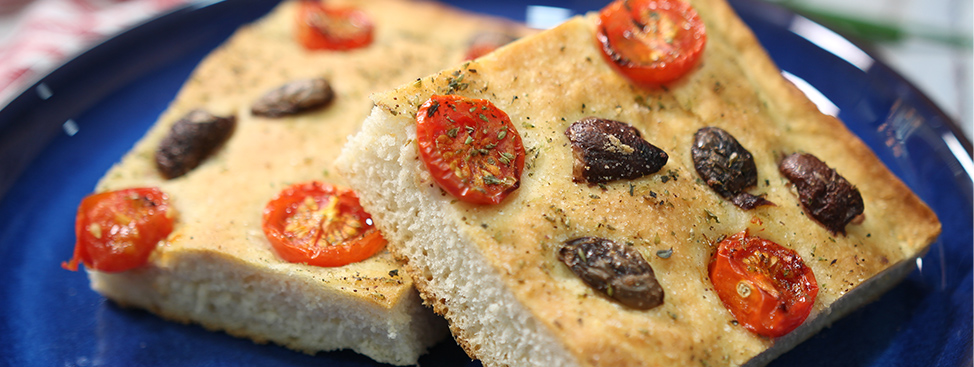 Homemade Focaccia with Olives and Tomatoes
