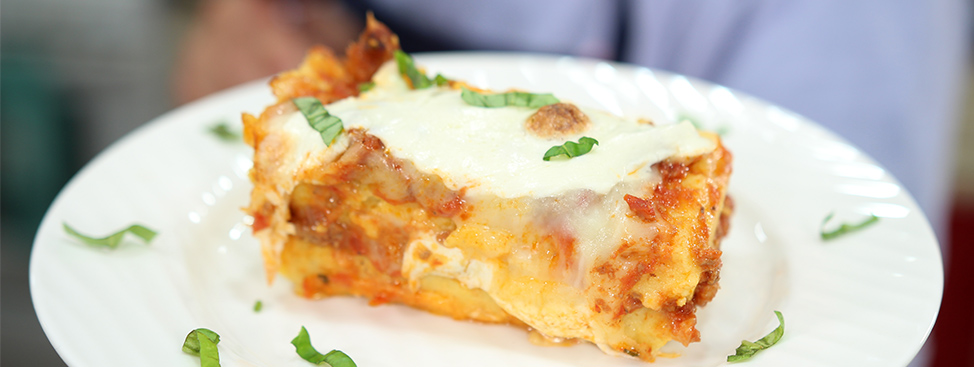 Cheesy Polenta Lasagna with Meat Sauce