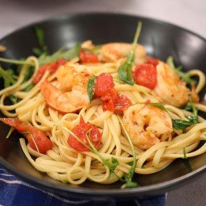 Linguine with Shrimp and Arugula