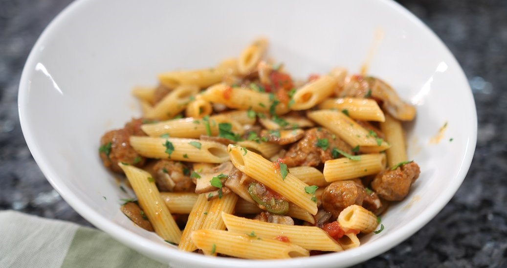 Penne with Mushrooms and Spicy Sausage