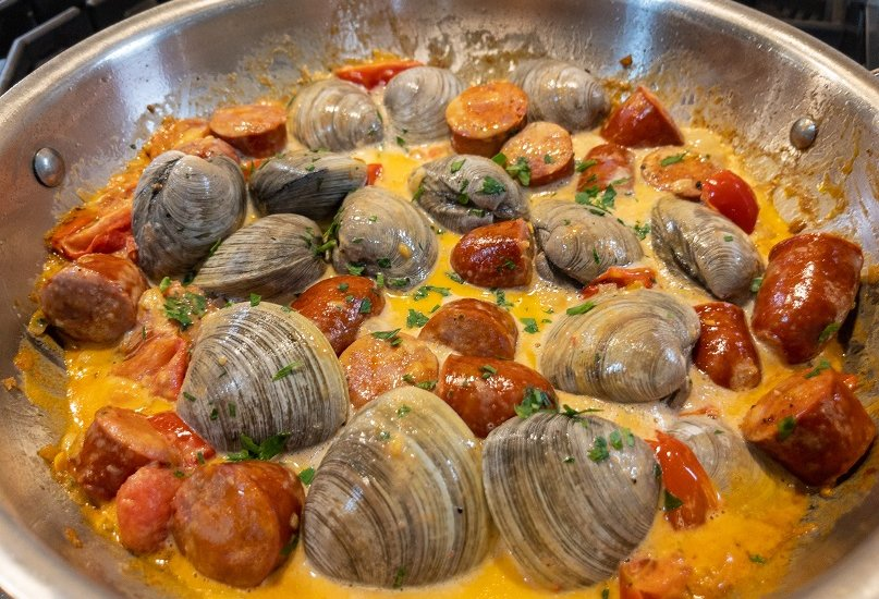 Clams and Chorizo Sausage in a Cream Sauce